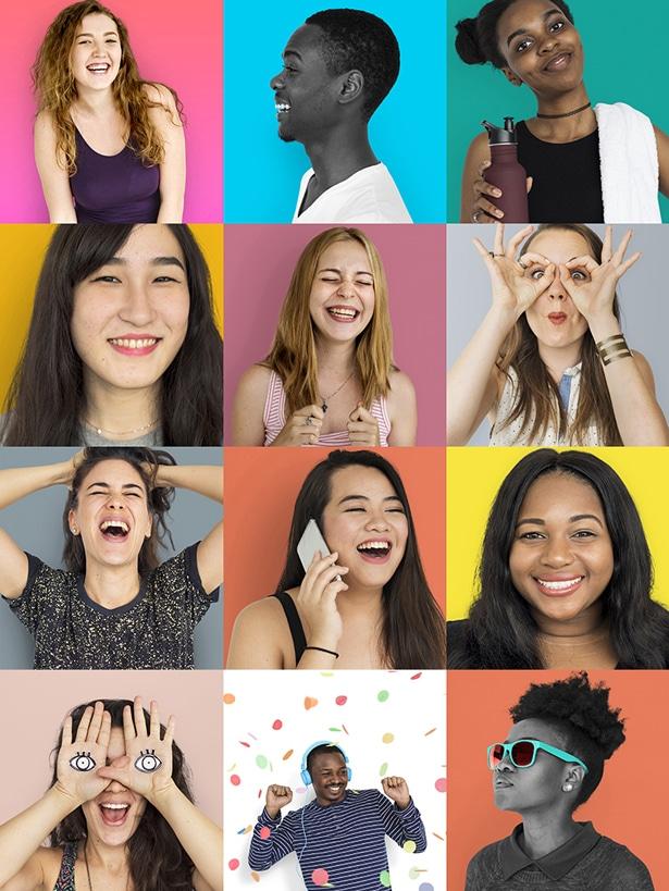 Lachende Menschen unterschiedlicher Nationen